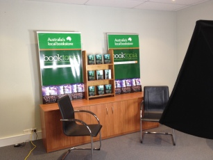 The set for filming an interview at Booktopia